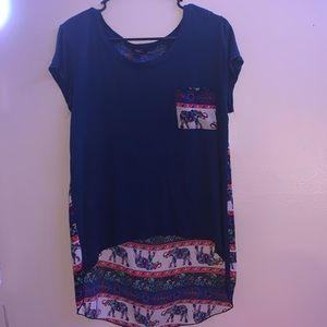 Short Sleeved Multicolor Elephant Top